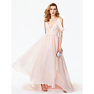 2017 TS Couture Formal Evening Dress - Celebrity Style A-line V-neck Court Train Chiffon with Sash / Ribbon Pleats Split Front