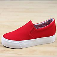 Feminino Tênis Conforto Lona Primavera Casual Conforto Branco Preto Vermelho Rasteiro