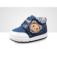 女の子 フラット 赤ちゃん用靴 繊維 PUレザー 春 秋 日常 ウォーキング 赤ちゃん用靴 面ファスナー ローヒール フクシャ コーヒー ブルー フラット