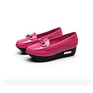 Dames Sneakers Lakleer Lente Wit Zwart Fuchsia Plat