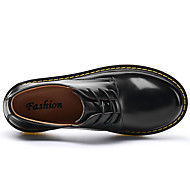 Men's Oxfords Comfort Light Soles Fall Winter Patent Leather Casual Outdoor Office & Career Lace-up Black Brown Blue Flat