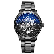 Women's Skeleton Watch Mechanical Watch Japanese Automatic self-winding Noctilucent Alloy Band Black