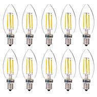 4W LED-hehkulamput C35 4 COB 350 lm Lämmin valkoinen Valkoinen Koristeltu AC 220-240 V 10 kpl
