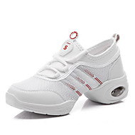 Kadın Dans Sneakerları Hava Alan File Topuklular Egzersiz Beyaz Siyah