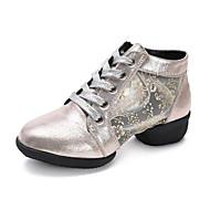 Kadın Dans Sneakerları Yapay Deri Sandaletler Spor Ayakkabı Profesyonel Çiçekler Düşük Topuk Altın Siyah Gümüş 5 - 6,2 cm