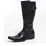 メンズ ブーツ ファッションブーツ オートバイ用ブーツ エナメル 秋 冬 カジュアル パーティー ファッションブーツ オートバイ用ブーツ ブラック レッド 1~1 3/4インチ