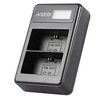 Andoer® lp-e6 ladattava LED-näyttö li-ion akku laturi pakkaus 2-paikkainen usb-kaapelisarja kanonille eos 6d 7d 70d 60d 5d merkki iii