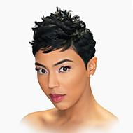 Femme Perruques capless à cheveux humains Noir de jais Court Ondulation Naturelle Coupe Lutin Avec Frange Partie latérale
