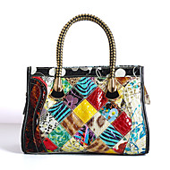 Women Bags All Seasons Cowhide Tote with Pattern / Print Plaid Split Joint for Casual Rainbow