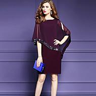 Kadın Dışarı Çıkma Büyük Beden Sokak Şıklığı Şifon Elbise Kırk Yama,½ Kol Uzunluğu Yuvarlak Yaka Diz-boyu Naylon Yaz Normal Bel