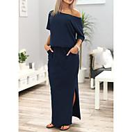 Kadın Dışarı Çıkma Günlük/Sade Seksi Sade Sokak Şıklığı Salaş Elbise Solid Basit,Yarım Kol Düşük Omuz Maksi Polyester Bahar Yaz Normal Bel
