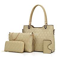 Női táska készlet pu all seasons alkalmi téglalap cipzár bézs piros fekete arany kék