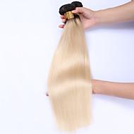 Emberi haj Brazil haj Ombre Egyenes Póthajak 3 darab Fekete / Bleach Blonde
