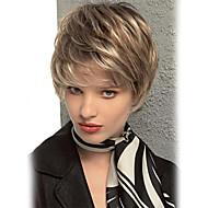 Naisten Ihmisen hiukset Capless Peruukit Chestnut Brown / Bleach Blonde Lyhyt Suora Pixie-leikkaus Kerroksittainen leikkaus Otsatukalla