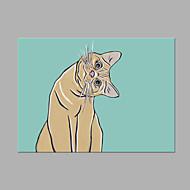 Kézzel festett Állat Vízszintes,Művészi Egy elem Vászon Hang festett olajfestmény For lakberendezési