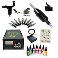 スタータータトゥーキット 1 xライニングとシェーディング用ロータリー墨機械 LCD電源 5×タトゥー針RL3 コンプリートキット
