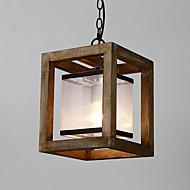 ראש יחיד וינטג ציור תכונה מיני עץ עץ / במבוק עם מנורת נברשת זכוכית עבור הכניסה / סלון / חדר ילדים לקשט מנורה תליון