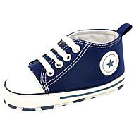 Baby Loafers & Slip-Ons Comfortabel Eerste schoentjes Canvas Lente Zomer Causaal Wandelen Veters Platte hak Zwart Rood Groen Roze Navy