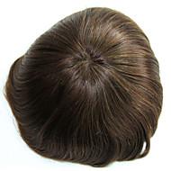 6 inches remy menneskehår mann toupee menneskelig hår toupee 8x10 inches mono base menn hår stykke farge # 4