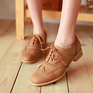 Damen Flache Schuhe Komfort PU Herbst Normal Flacher Absatz Niedriger Absatz Stöckelabsatz Schwarz Beige Gelb Unter 2,5 cm