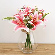 חלק 1 1 ענף משי פוליאסטר חבצלות פרחים לשולחן פרחים מלאכותיים