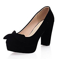 Women's Shoes PU Summer Comfort Heels Platform Round Toe With For Casual Black Red Blue