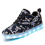 Boys' Sneakers Light Up Shoes Knit Tulle Fall Winter Casual Light Up Shoes LED Low Heel Blue Under 1in