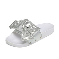 Naiset Sandaalit Comfort PU Kevät Kesä Kausaliteetti Puku Tekojalokivi Ruseteilla Tasapohja Kulta Musta Hopea Tasapohja