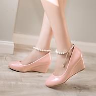 Femme Chaussures Polyuréthane Printemps Confort Chaussures à Talons Talon Compensé Bout rond Avec Pour Décontracté Noir Beige Rose