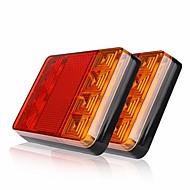 Ziqiao 2 stk 8 leds bilvogn baghale lys advarselslamper baglygter vandtæt bagage bagdele til trailere truck båd dc 12v