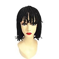 ミドル部分の縫い目 100%カネカロン髪 ナチュラルウィッグ 合成 キャップレス ウィッグ ショート丈 ミディアム丈 ブラック ヘア