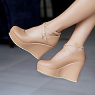 Women's Shoes PU Spring Summer Comfort Heels Wedge Heel Round Toe With For Casual Black Blushing Pink Almond