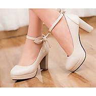 Feminino Sapatos Couro Ecológico Verão Conforto Saltos Com Para Casual Branco Preto Bege Azul Rosa claro
