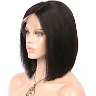 Naisten Aitohiusperuukit verkolla Aidot hiukset Lace Front Liimaton puoliverkko 130% Tiheys Suora Peruukki Musta Tummanruskea Musta Lyhyt