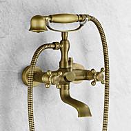 アンティーク調 バスタブとシャワー ハンドシャワーは含まれている with  セラミックバルブ 二つのハンドル二つの穴 for  アンティーク真鍮 , 浴槽用水栓
