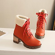 Women's Shoes PU Winter Comfort Boots Chunky Heel Round Toe With For Casual Black Orange Green