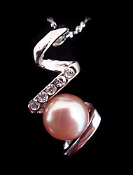 Noble Silver Pink Freshwater Pearl Pendant With Necklace