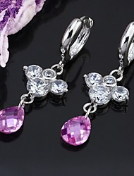 Platinum Cubic Zirconia Drop Earring - Cubic Zirconia Earring SYX-0325 Purple (SZY974)