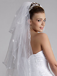 Wedding Veil Three-tier Fingertip Veils Cut Edge 47.24 in (120cm) Tulle White White / IvoryA-line, Ball Gown, Princess, Sheath/ Column,