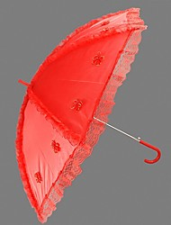 "Wedding Lace Umbrella Hook Handle Red 29.5""(Approx.75cm) Plastic 38.6""(Approx.98cm)"