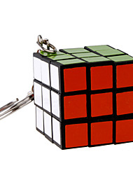 Magic Cube Key Chain Black Plastic