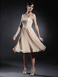 A-Line Strapless Sweetheart Knee Length Chiffon Stretch Satin Cocktail Party Homecoming Dress with Pleats by TS Couture®