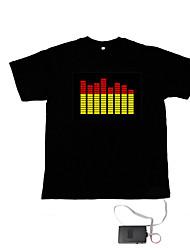 som e música activado el t-shirt dançarina visualizador de espectro-vu (2 * AAA)