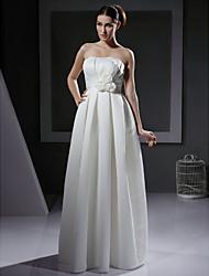 A-line/Princess Plus Sizes Wedding Dress - Ivory Floor-length Strapless Satin