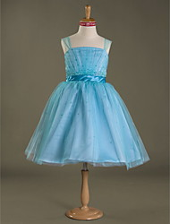 Knee-length Satin / Tulle Junior Bridesmaid Dress Ball Gown Straps Natural with Beading / Draping / Ruffles / Sash / Ribbon