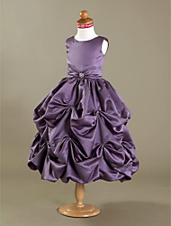 Lanting Bride ® Ball Gown Tea-length Flower Girl Dress - Satin Sleeveless Scoop with Crystal Detailing / Draping
