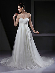 Lanting Bride® A-line / Princess Petite / Plus Sizes Wedding Dress - Chic & Modern / Glamorous & Dramatic Vintage Inspired Court Train