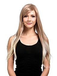 Capless Extra Long High Quality Synthetic Natural Look Light Blonde With White Straight Hair Wig