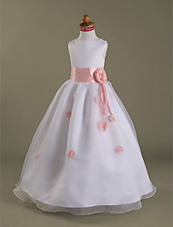 A-line Princess Floor-length Flower Girl Dress - Organza Satin Bateau with Flower(s) Ruffles Ruching