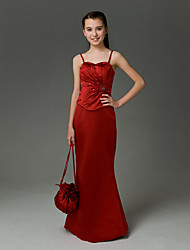 Floor-length Satin Junior Bridesmaid Dress - Burgundy Trumpet/Mermaid Sweetheart / Spaghetti Straps